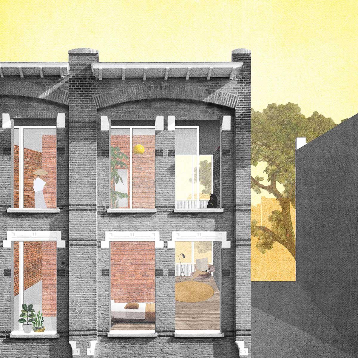 post-digital collage renovatie gevelontwerp architectuur